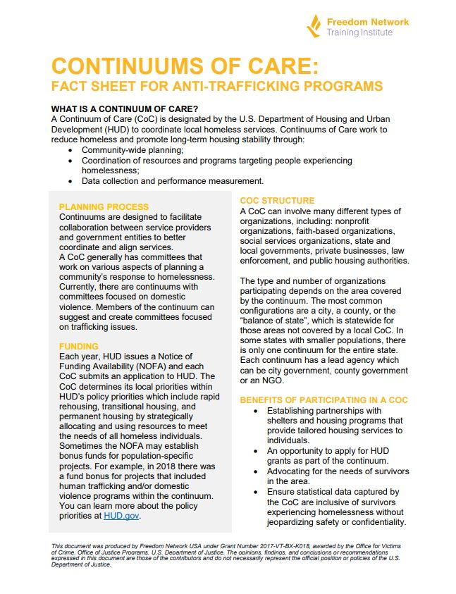 continuums of care fact sheet for anti-trafficking programs