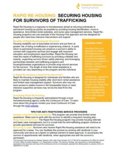 securing housing for survivors of human trafficking