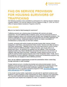 FAQ on service provision for survivors of trafficking